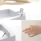 Fashion 26 Letters Silver Ring For Women Rhinestone Open Finger Rings Female Engagement Ring Jewelry Anel Party Gift - Sheseelady
