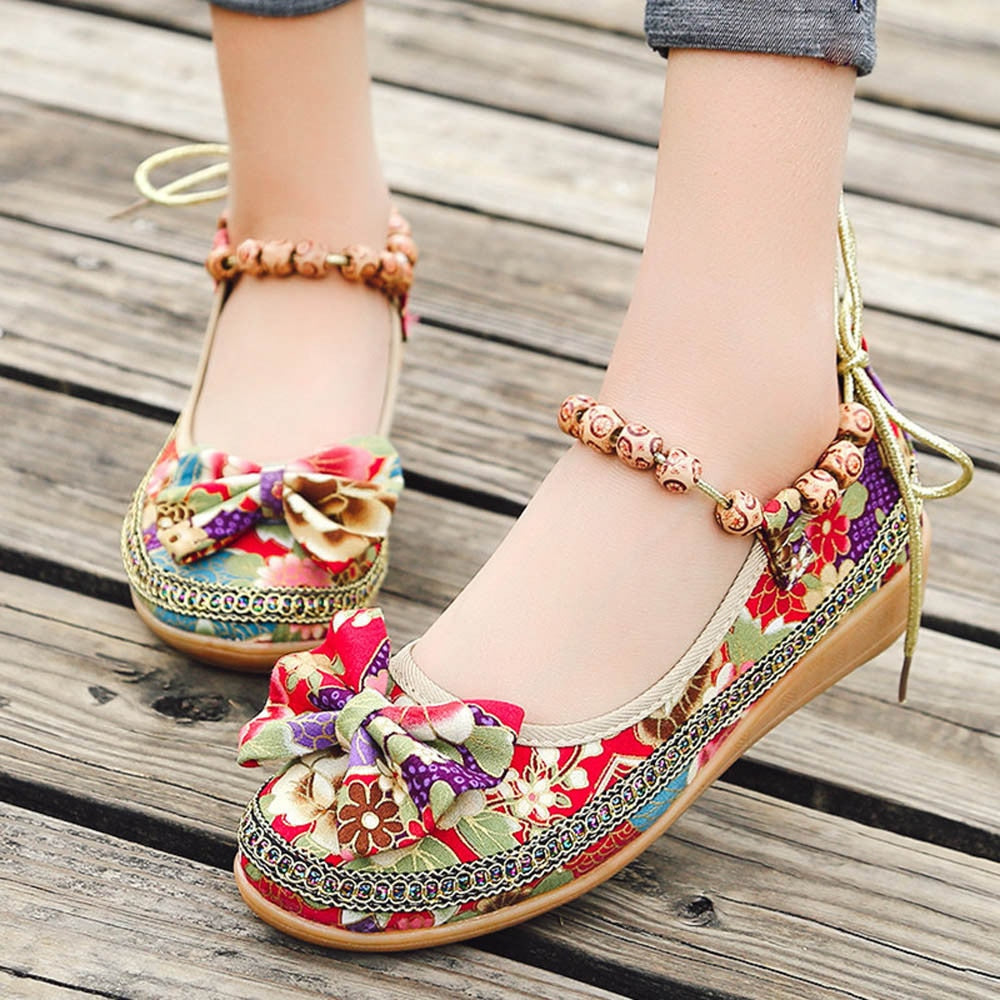 Knot Women Embroidered Ballet Ankle Flat Spring Summer Vintage Ladies Comfort Slip On Ballerinas Shoes - Sheseelady