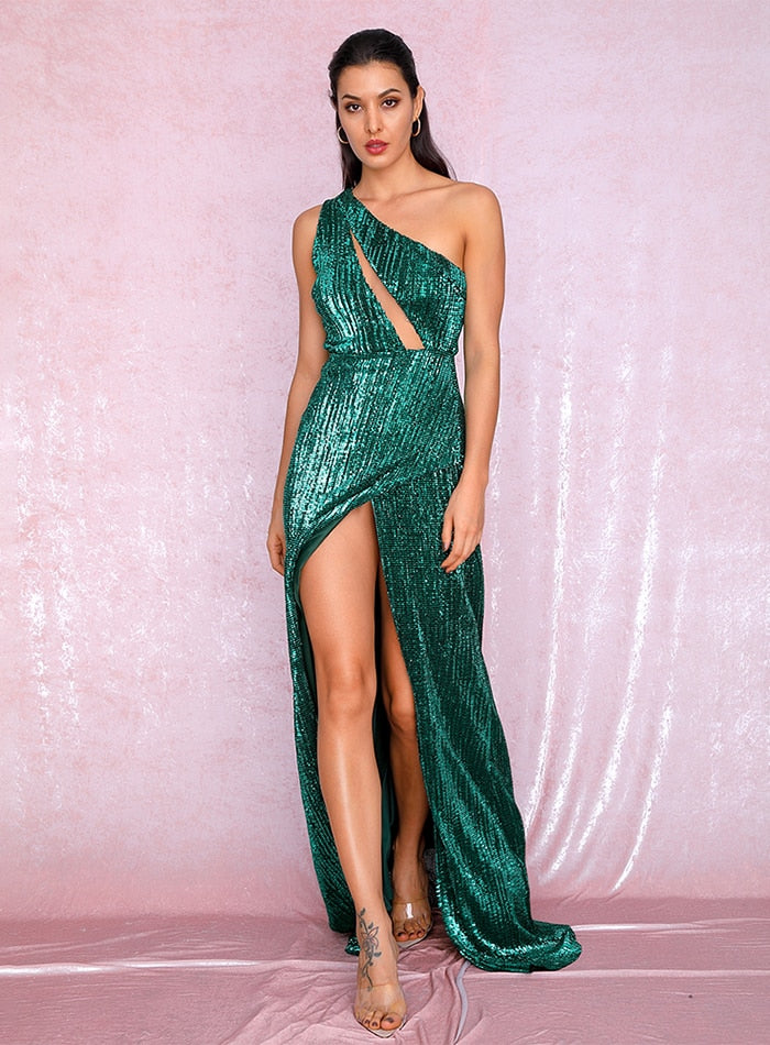 Sexy One Shoulder Cut Out Green Cross Split Sequin Maxi Dress Outono / Inverno Para As Senhoras