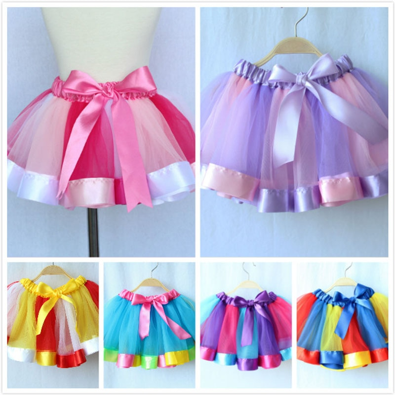 3M-8T Princess And Rainbow Tulle Skirts For Girls - Sheseelady