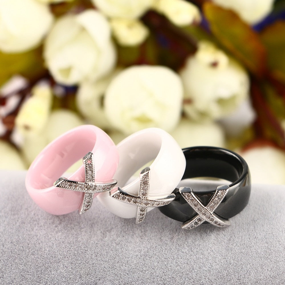 Fashion Jewelry Women Ring With Aaa Crystal 6/8 Mm X Cross Ceramic Rings For Women Men Plus Big Size 10 11 12 Wedding Ring Gift - Sheseelady