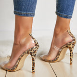 Transparent Leopard Grain Pumps Heel Stilettos High Heels Womens Party Shoes Nightclub Pump Sandals
