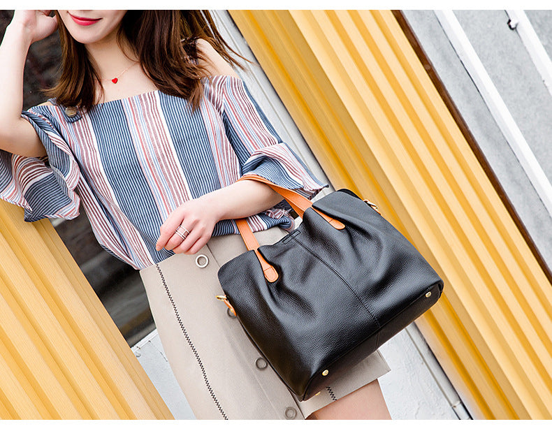 Genuine Leather Handbags Head Layer Cowhide Litchi Grain Women Handbags Fashion Portable Shoulder Messenger Bags Composite Bags - Sheseelady
