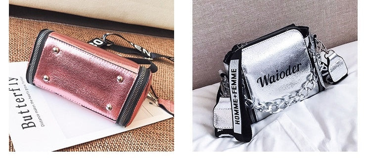 Pu Leather @Luxury Crossbody With Hand Holding Chain Mini Flap Bag