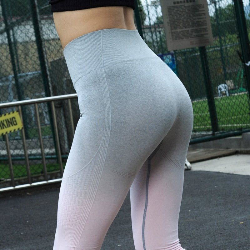 Ombre Seamless Leggings Push Up Fashion Pants