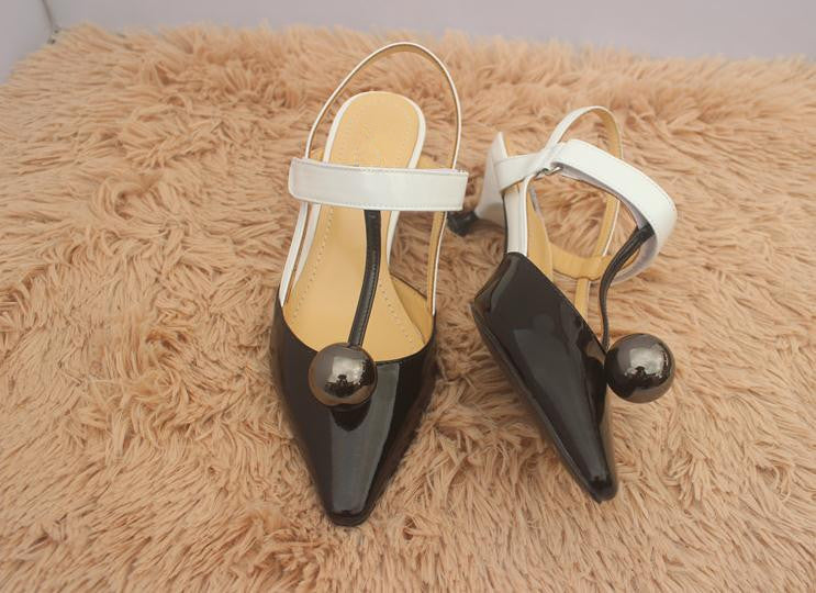 Fashion Sexy Female High Heels Round Ball Spell Color T-Shaped Pointed Head Women'S Shoes Pumps Tacones Mujer Obuv - Sheseelady