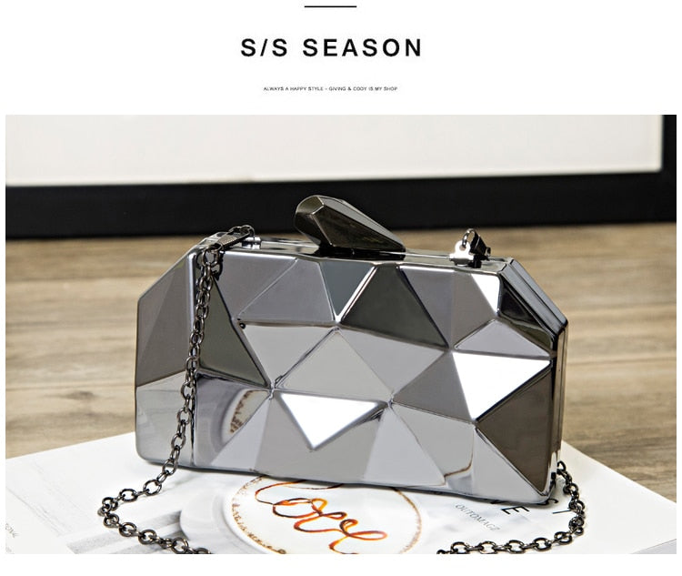 Shine Look Acrylic Box Geometry Clutch Bag For Wedding/Dating/Party