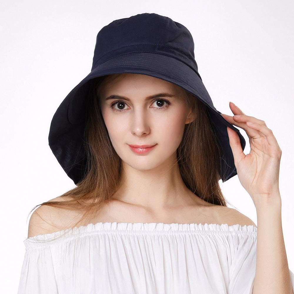Womens Summer Beach Sun Hats Upf50+ Uv Cotton Ponytail Foldable String Chin Cord Wide Brim Travel Sun Hats Cap Girl