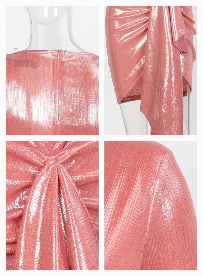 Sexy Pink Deep V-Neck Pleated Ribbon Sparkling Fabric Going Out Reflective Dress For Women