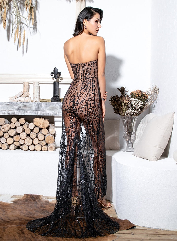 Sexy Black Strapless Cut Out Geometric Element Glitter Glued Material Maxi Dress For Females