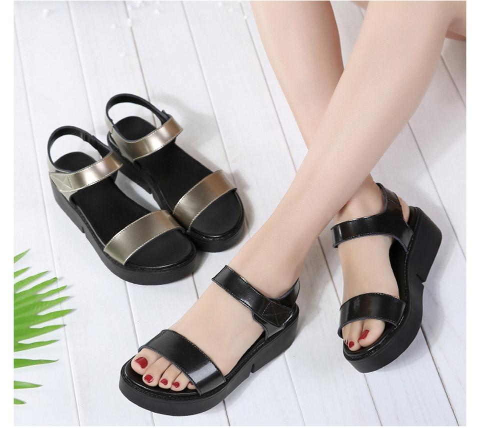 High Quality Summer Women Sandals Comfortable Leather Flat Comfort Sandals Lady Shoes Woman Golden Punk Sandalias - Sheseelady