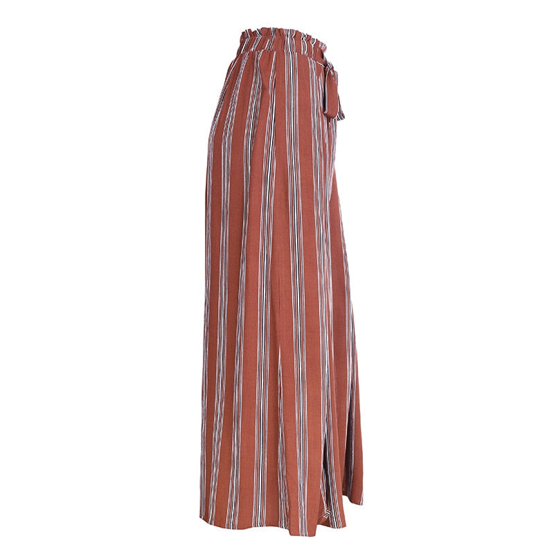 Summer Beach Split Striped Wide Leg High Waist Trousers For Women