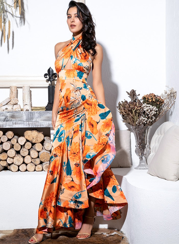 Sexy Orange Cross Straps Side Slits Ruffled Print Maxi Dress For Ladies