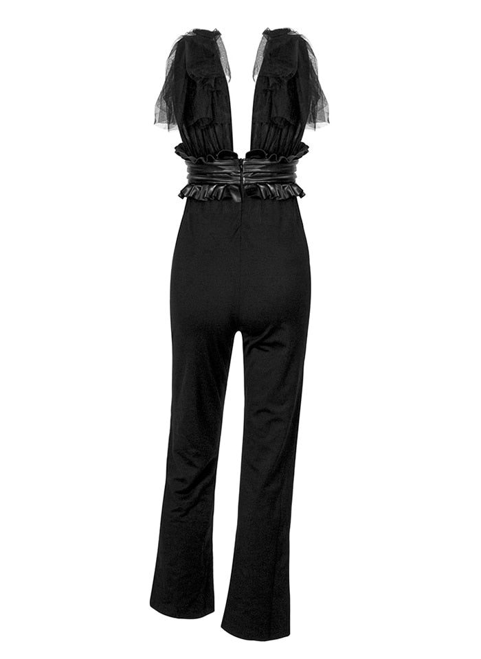 Sexy Black V-Neck Upper Body Mesh Straps High Waist Fit Jumpsuit For Ladies