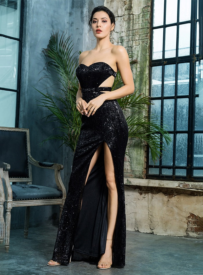Sexy Black Bra Open Back Pleated Sequins Slim Party Long Dress For Females