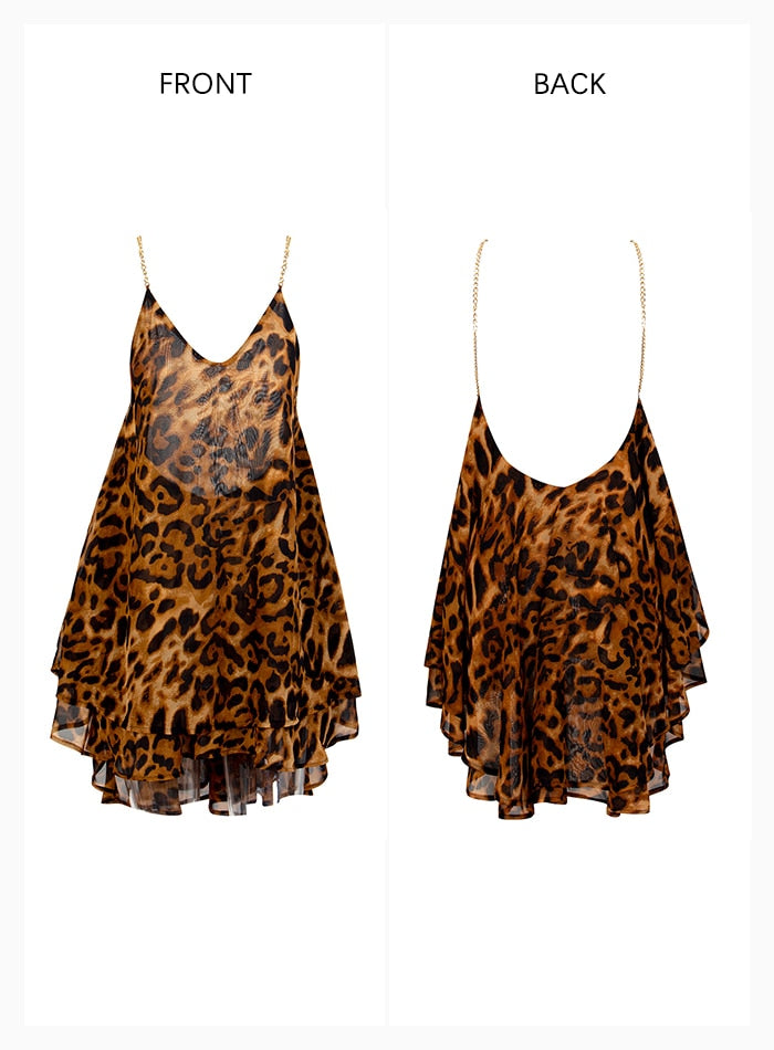 Sexy V-Neck Leopard-Print Chiffon Metal Chain Puffy Party Dress Women