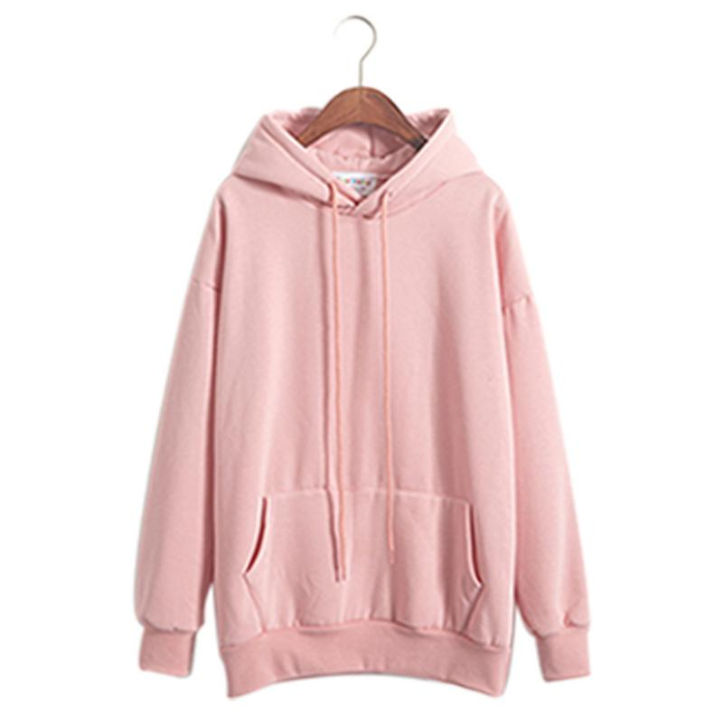 Casual Long Sleeve Pullover Clothes Sweatshirt Fleece Sweatshirts Pink Women'S Gown With A Hood Hoodies Ladies