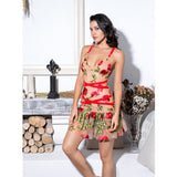 Deep V-Neck Ruffled Decorative Mesh Embroidery Material Straps Going Out Dress