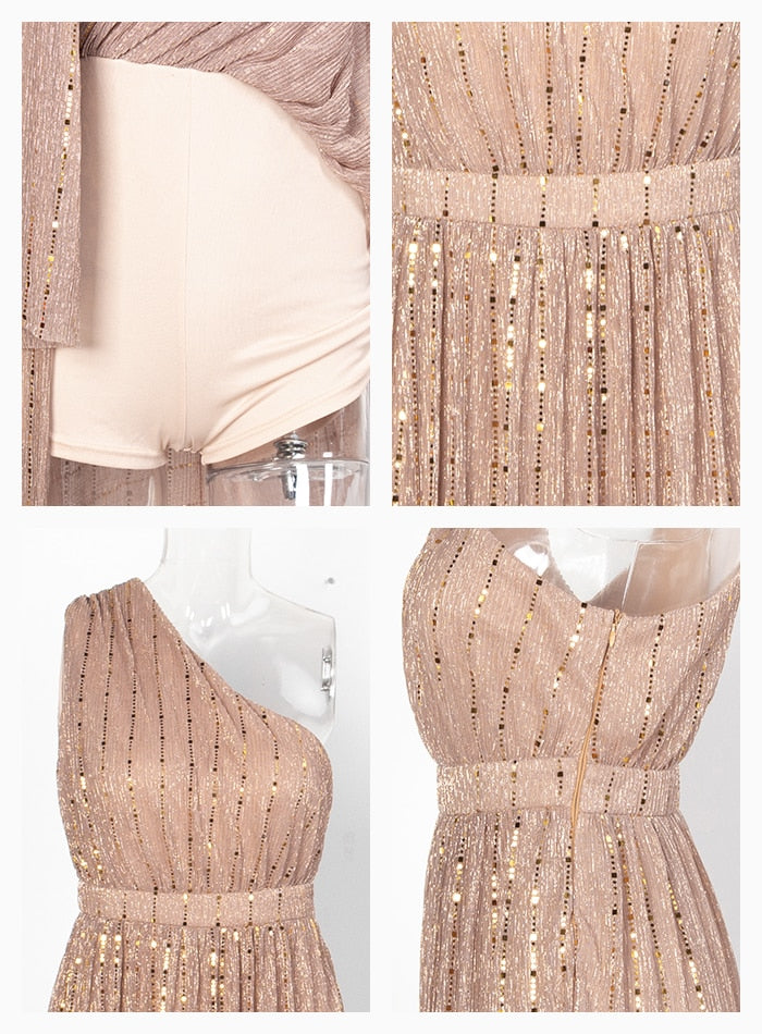 Hot Nude One Shoulder Composite Sequin Material Split Party Dress Female
