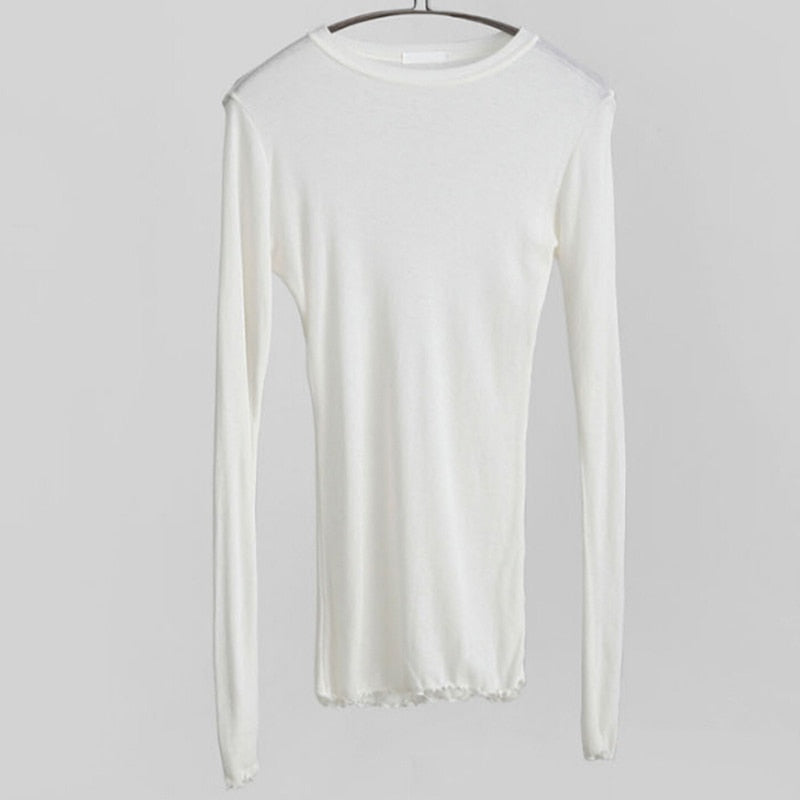 Slim High Quality Plain T Shirt Women Cotton Elastic Basic T-shirts Female Casual Tops Long Sleeve Sexy Thin T-shirt see through