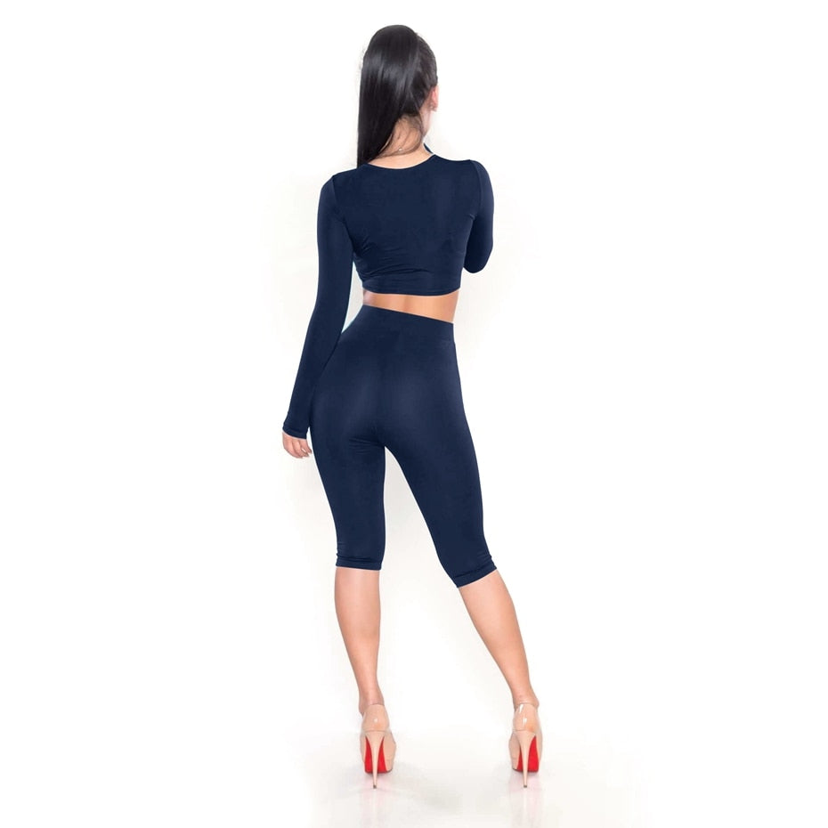 2 Piece Set Women Sexy Long Sleeve Top+Biker Shorts Track Suit Bodycon Tracksuit Casual Two Pieces Outfits Sweatsuit - Sheseelady