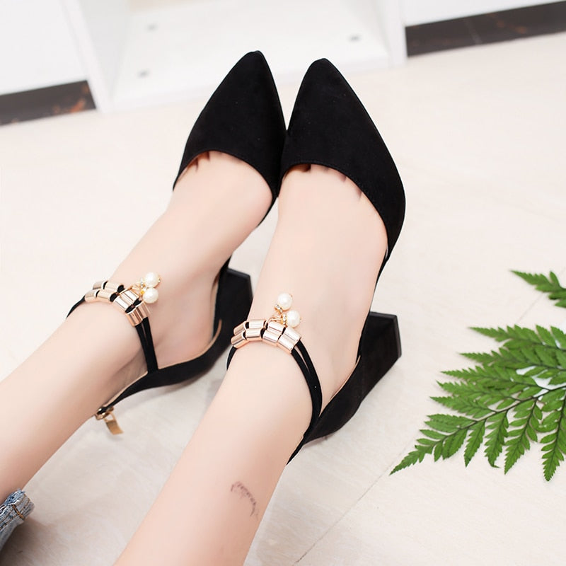 Hot Dress Shoes High Heels Boat Shoes Wedding Shoes Tenis Feminino Summer Women Shoes Pointed Toe Pumps Side With Pearl - Sheseelady