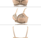 Women'S Plus Size Bra Leopard Print Wire Free Bras Push Up Ajusted Brassiere Thin Cup Underwear 44 46