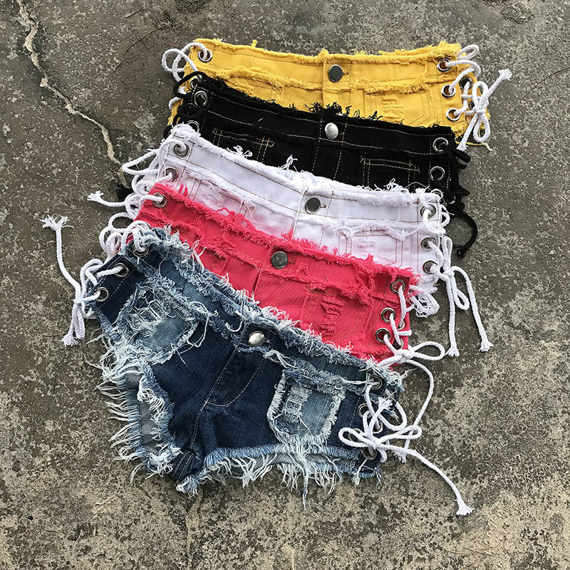 Women Blue Jean Shorts Jeans Low Rise Denim Shorts Sexy Jean Punk Shorts For Women Lace Up Tassel Bandage Mini Short Jeans