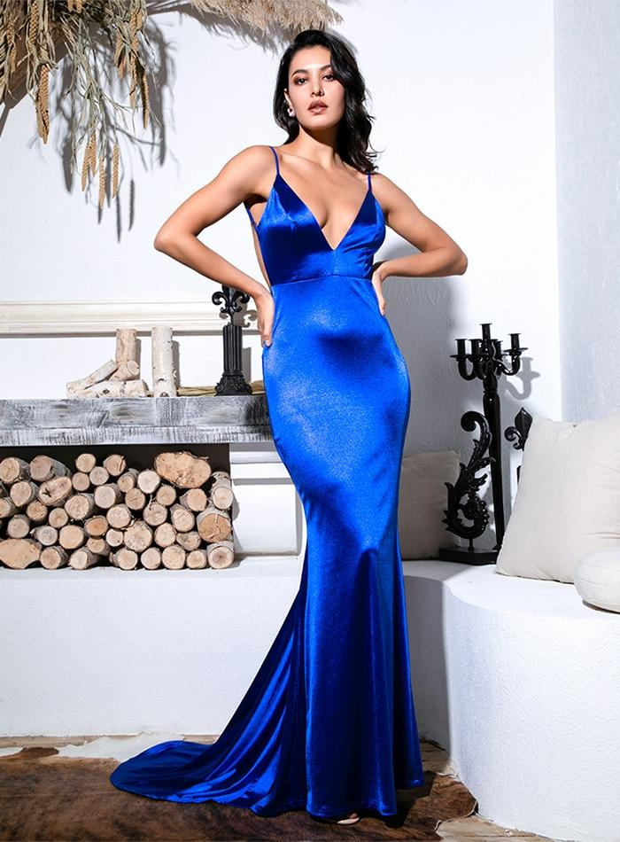 Sexy Blue Deep V-Neck Open Back Slim Flash Material Long Dress Blue For Females