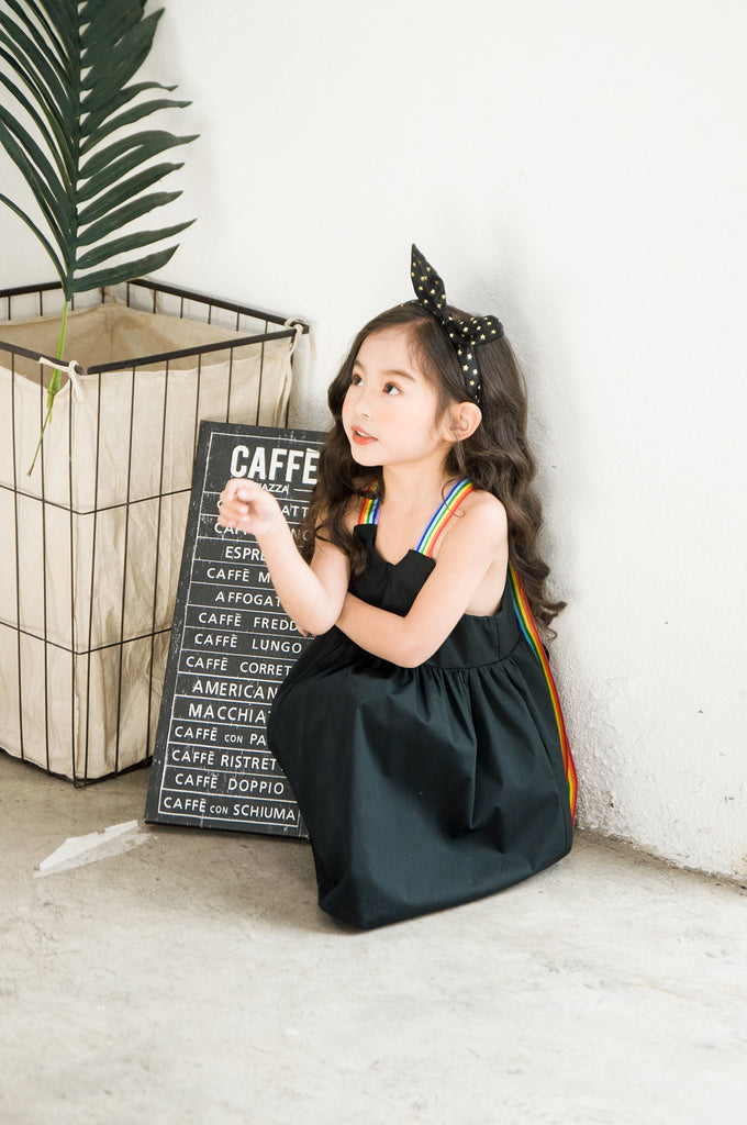 Children Clothing Girls Rainbow Strap Simply Black Cotton Dress Lovely Casual Kids Summer Dress - Sheseelady