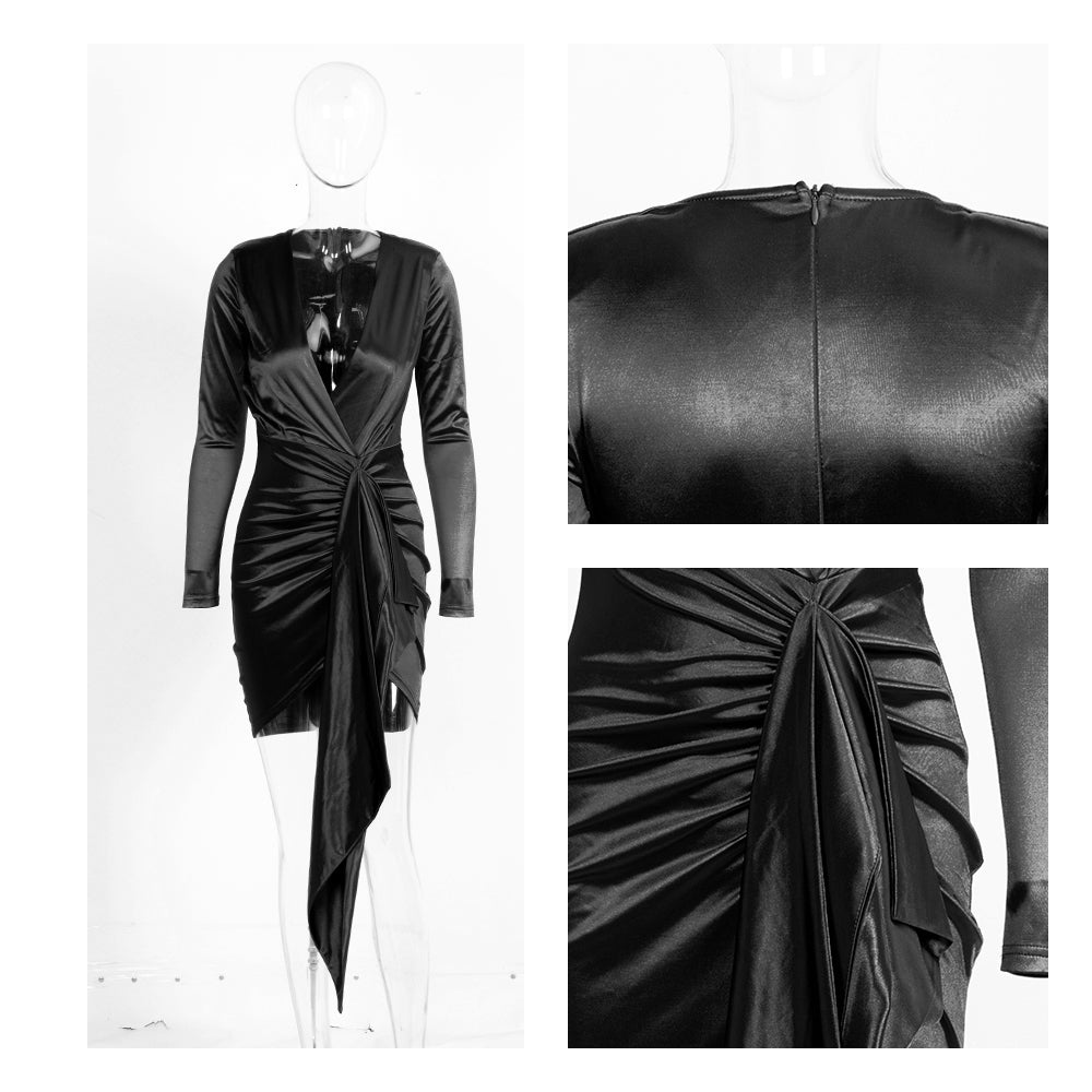 Sexy V-Neck Shirring Streamer Decoration Bodycon Party Dress Black Autumn/Winter For Females