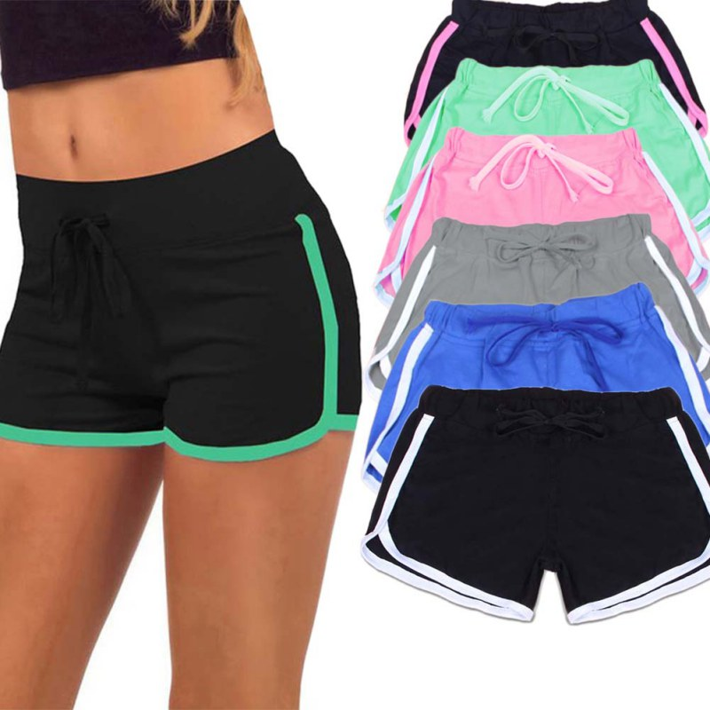 Esportes Fast Drying Drawstring Women Shorts Casual Anti Emptied Cotton Contrast Elastic Waist Correndo Short Pants - Sheseelady