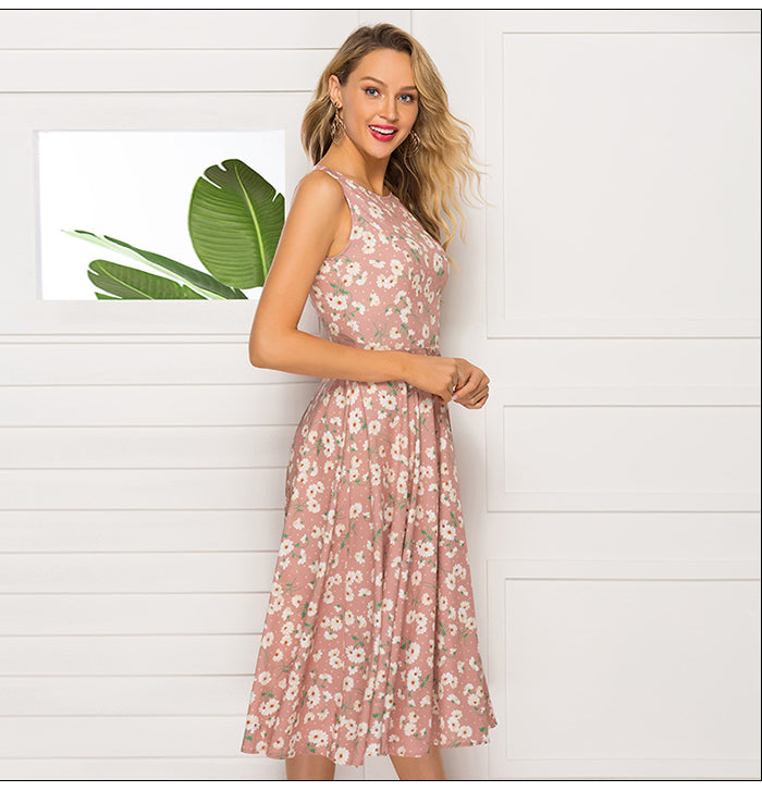 Sexy Pink Floral Printed Short Classic Retro Dresses Spring A-Line For Women