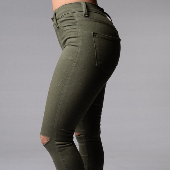 Slim Elasticity Skinny Hollow Out Knee Hole Jeans For Women