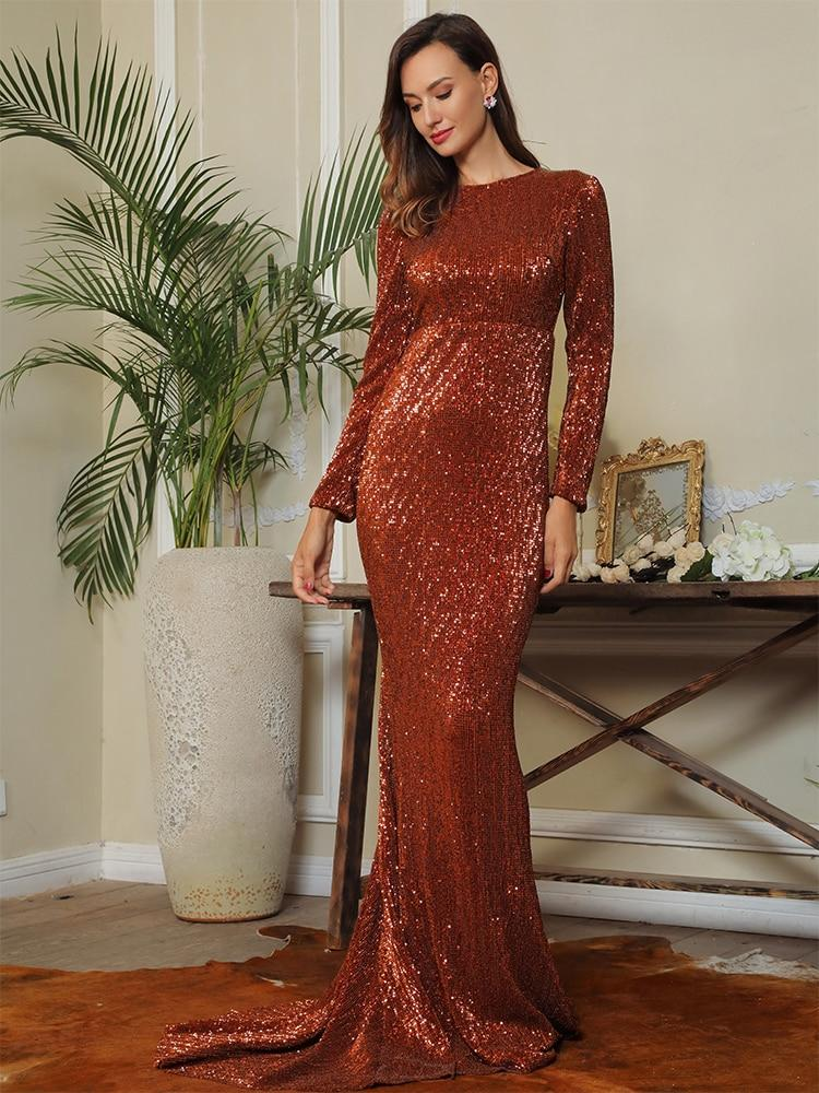 Sexy 0-Neck High Waist Elastic Pleated Sequins Fishtail Shape Party Long Dress Female