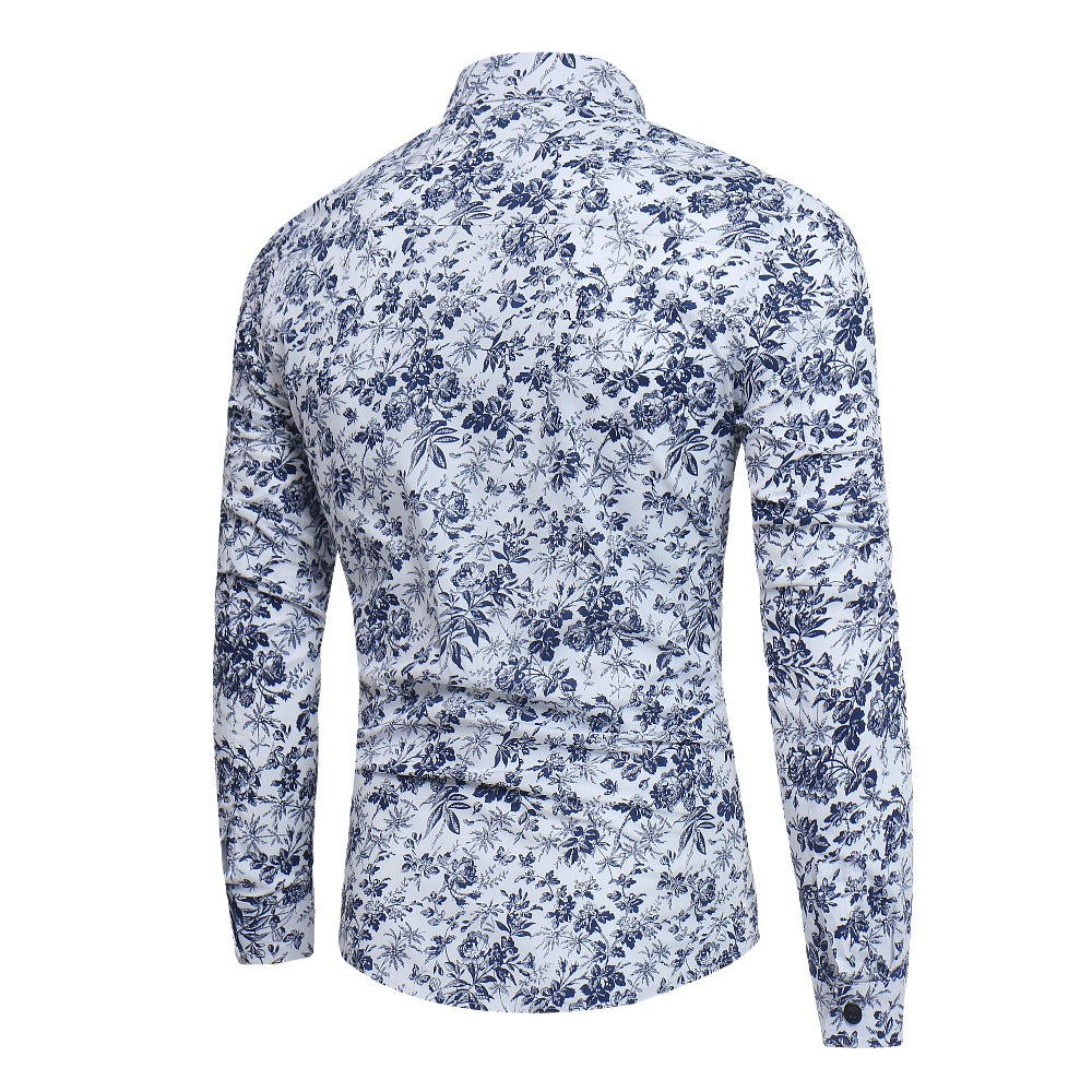 New Men'S 3D Printed Floral Long Sleeve Casual Shirt