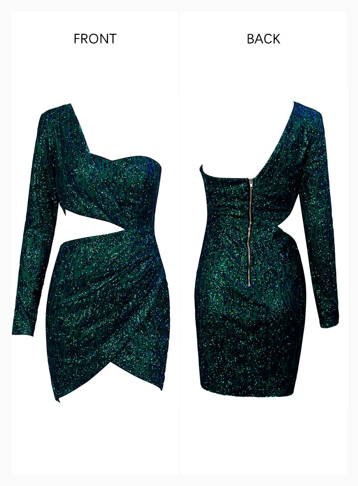 Sexy Green Cut Out Single Sleeve Glitter Glue Bead Material Party Dress For Ladies