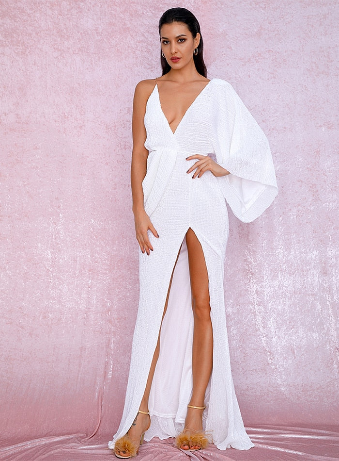 Sexy White V-Neck Single Sleeve Sequins Split Party Maxi Dress