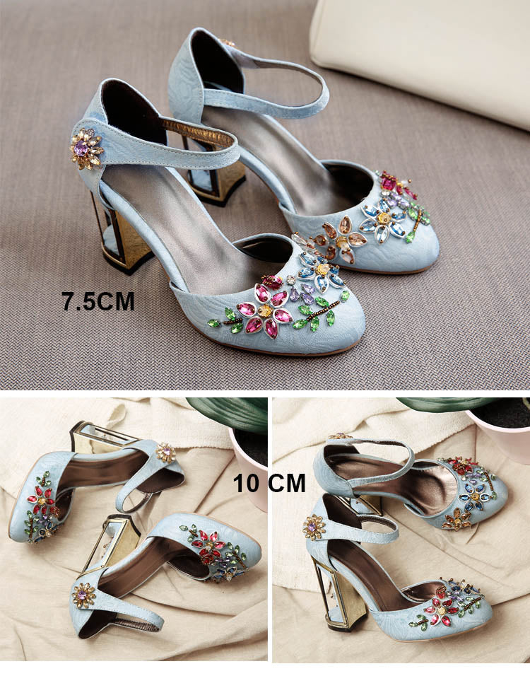 Crystal Flower Mary Janes Women Pumps Shoes Strange High Heels 10Cm Hook & Loop Handmade Rhinestone Wedding Shoes - Sheseelady