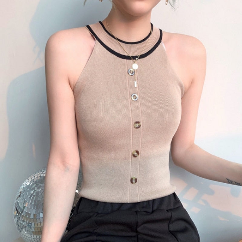 Halter Tank Top Women Summer T Shirt Crop Top Knitted Buttons Stretchy Color Block Sexy Vest T Shirt Black White Beige