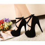 Hot Fashion New High-Heeled Shoes Woman Pumps Wedding Party Shoes Platform Fashion Women Shoes High Heels 11Cm Suede Black - Sheseelady