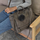 Hot Vintage Nubuck Leather Top-Handle & With Hair Ball Tassel Bag - Sheseelady