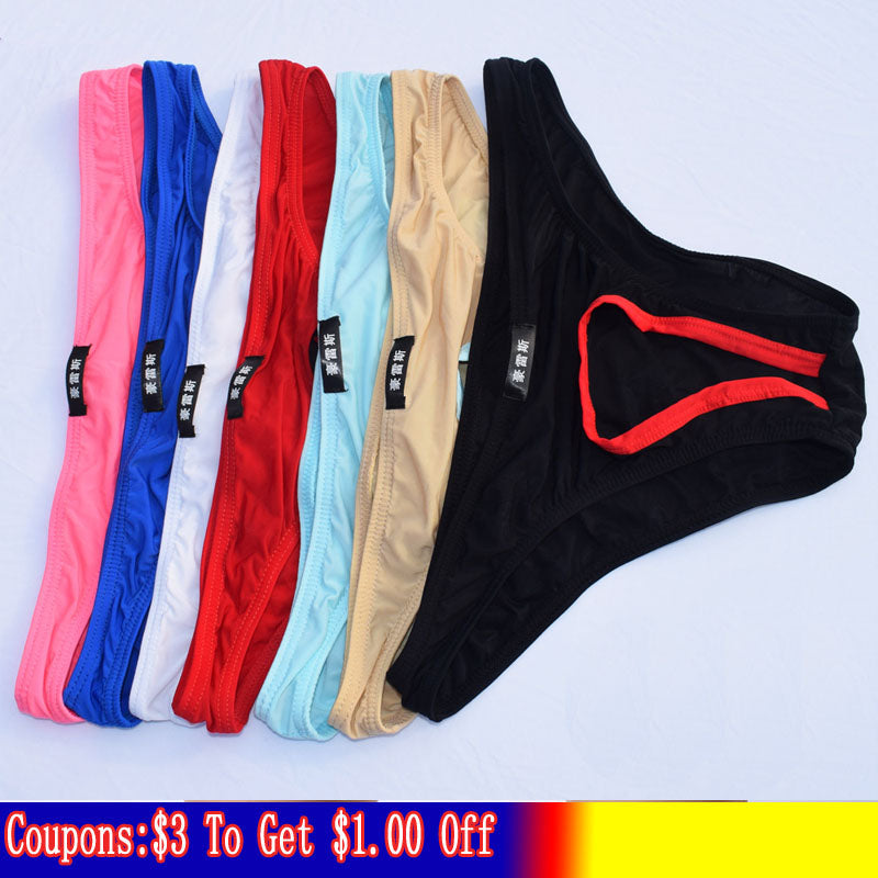 Sexy Men'S Underwear Briefs Brand Penis Hole Open Pouch