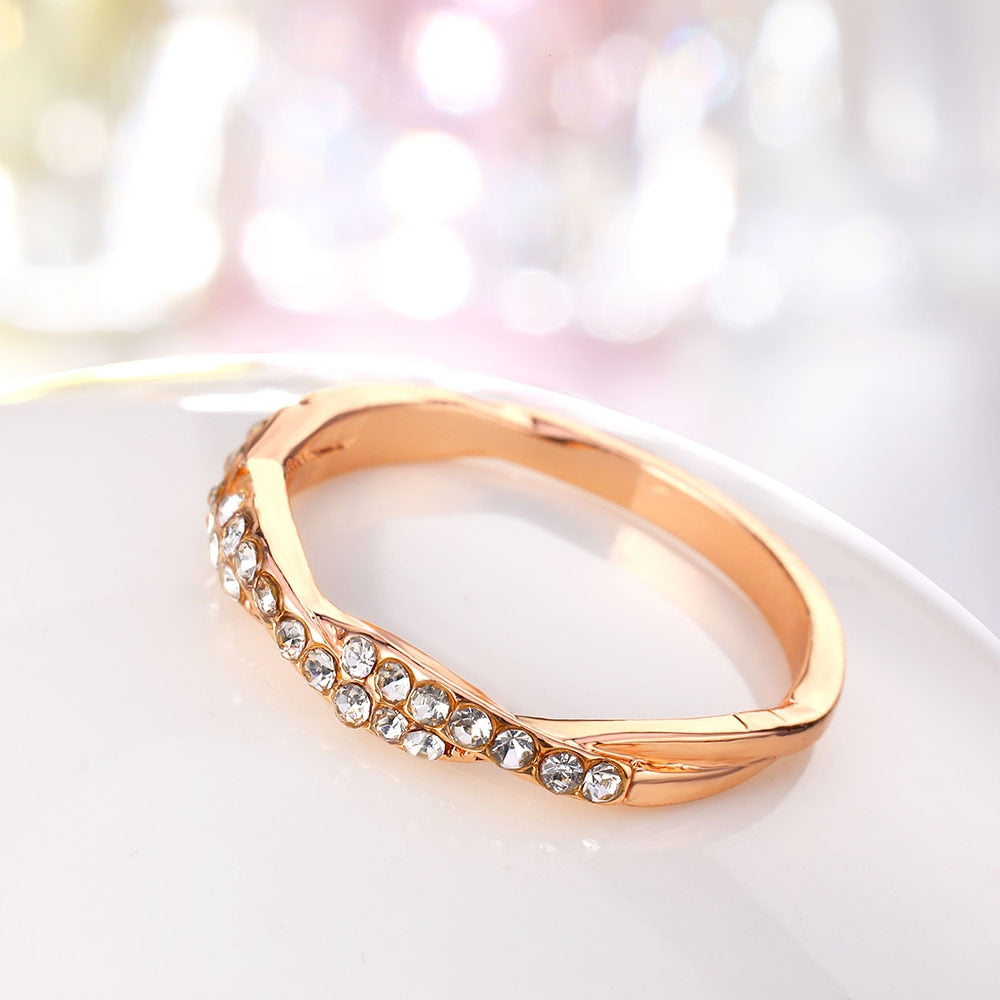 Pattern Twisted Rope Hemp Flowers Ring Plating Rose Gold Silver Micro Cubic Zirconia Tail Ring Fashion Women'S Jewelry