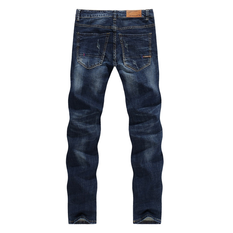 Classic Direct Stretch Dark Blue Casual Denim Pants - Sheseelady