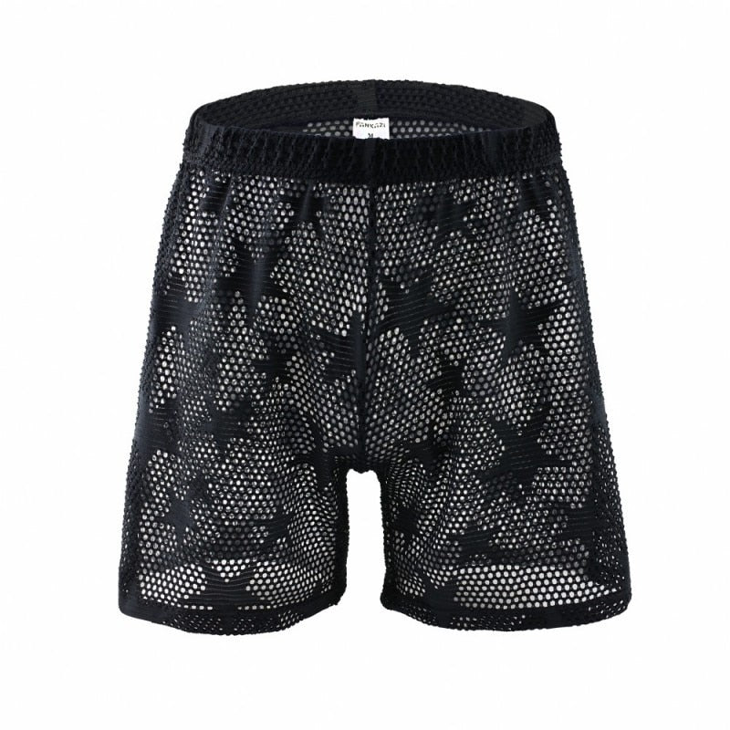 See Through Star Mesh Breathable Men'S Clothing Home Shorts