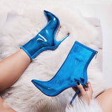 New New Women Ankle Boots Super High Heels Women Shoes Sexy Boots Pointed Toe Crystal Handmade