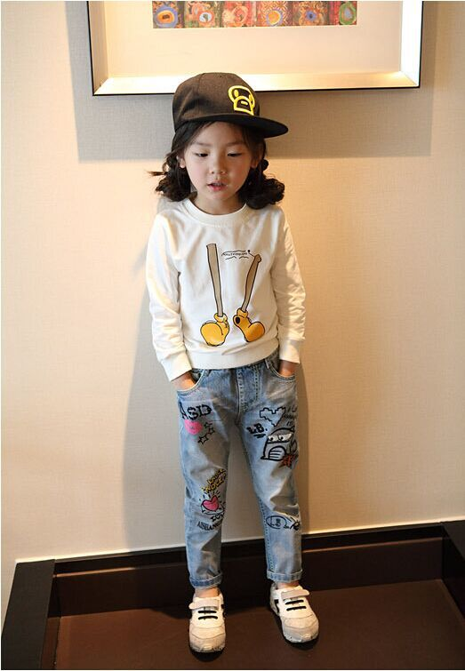 Graffiti Washed Trousers And Denim Pants For Kids Girl