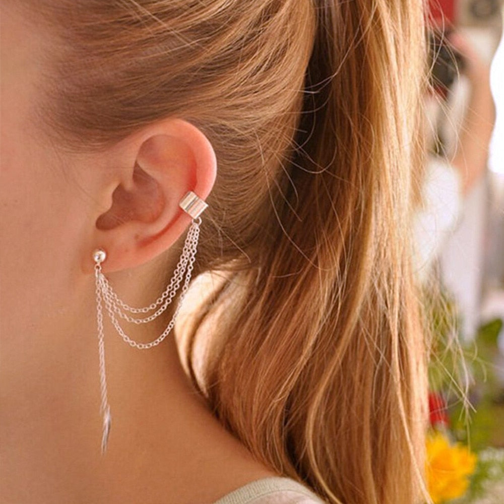 Korean Women 1Pc Little Gems Rhinestone Punk Rock Style Woman Young Gift Leaf Chain Tassel Earrings Gold, Silver
