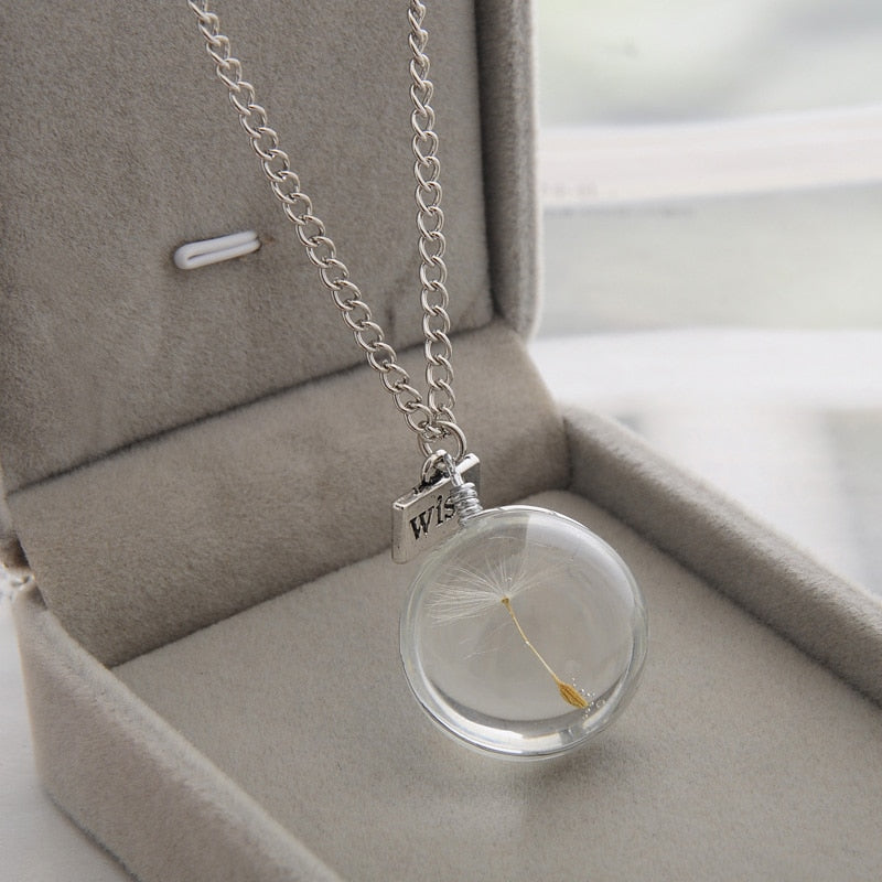 Necklaces Wish Real Dandelion Crystal Necklace Glass Round Pendants Necklace Silver Chain Choker Necklace For Women